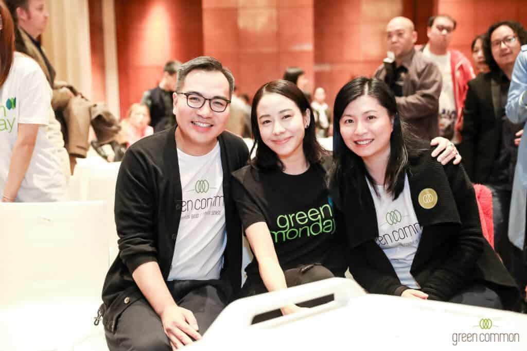 (左起)Green Monday创始人杨大伟、大中华区大使林嘉欣、Green Common执行总监吴咏琛 © Green Monday